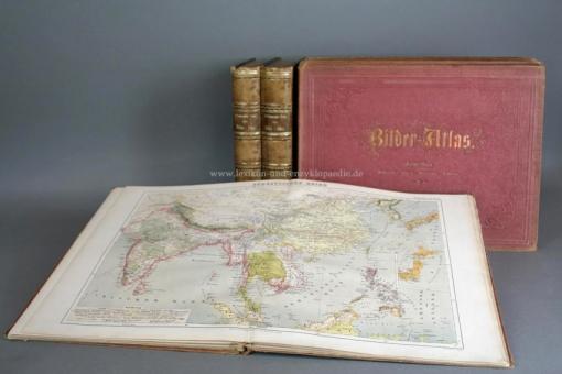 Brockhaus Bilder-Atlas. Zweite (2.) Auflage, alle 10 Bände, 500 Tafeln, 1869-1875