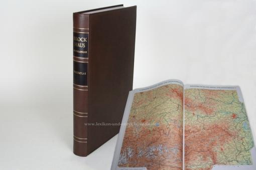 Brockhaus Enzyklopädie Weltatlas 2./19. Auflage, 1993, Ganzleder / Echt-Leder, selten