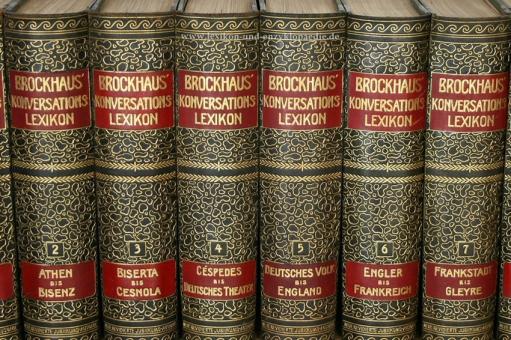 Brockhaus Konversations-Lexikon 14. Auflage, Einzel-Band, 1908 ff. Kopfgoldschnitt