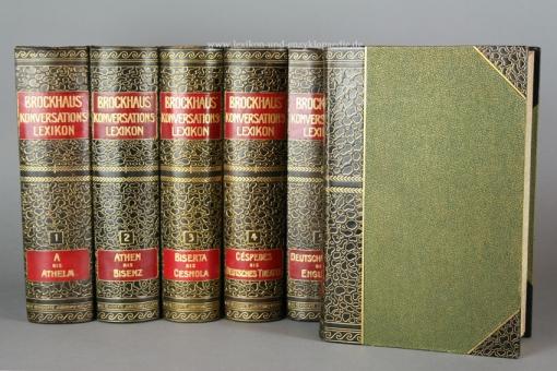 Brockhaus Konversations-Lexikon 14. Auflage, 17 Bände, 1908-1910, Kopfgoldschnitt