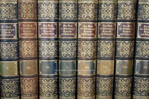 Das Buch der Erfindungen, Gewerbe und Industrien, 10 Bände, Prachteinband, Spamer, 1896-1901