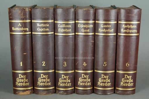 Der Große Herder 4. Auflage, Band 6 (Hochrhein - Konsequenz), 1933, Halbleder 6