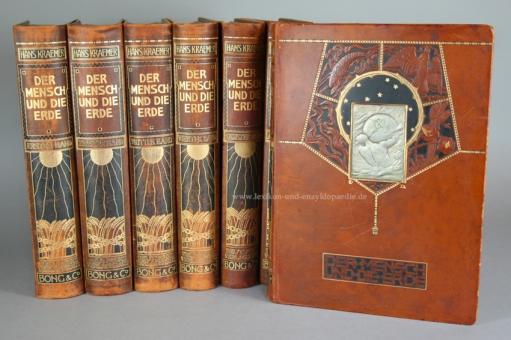 Kraemer, Der Mensch und die Erde, Bong, 10 Bände, Ganzleder, 1906-1913