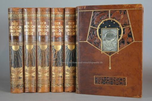 Kraemer, Der Mensch und die Erde, 10 Bände, Ganzleder-Prachteinband, Bong, 1906-1913