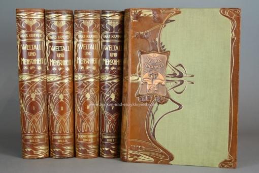 Kraemer, Weltall und Menschheit, Geschichte der Erforschung ..., Bong, 5 Bände, Jugendstil, 1900