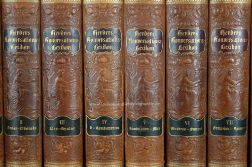 Herders Konversations-Lexikon 3. Auflage, 9 Bände (incl. Ergänzungen), Jugendstil, 1902-1910