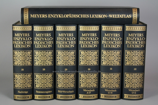 Meyers Enzyklopädisches Lexikon 9. Auflage, alle 32 Bände (mit Atlas) Ganzleder, selten | Nr. 520
