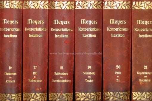Meyers Großes Konversations-Lexikon 6. Auflage, 22 Bände, 1905-1910, Eichenlaub