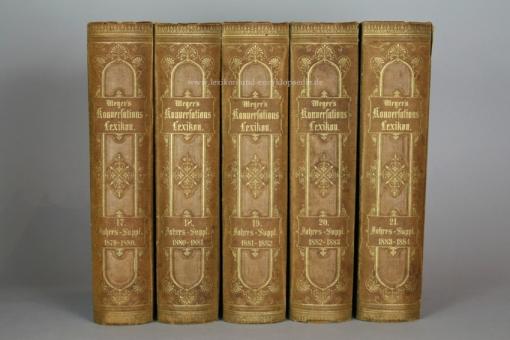 Meyers Konversations-Lexikon 3. Auflage, alle 5 Supplemente (Band 17-21), 1880-1884