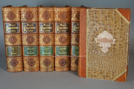 Meyers Konversations-Lexikon 5. Auflage, 21 Bände, 1895-1901, Rosenthal (Rundum-Goldschnitt)